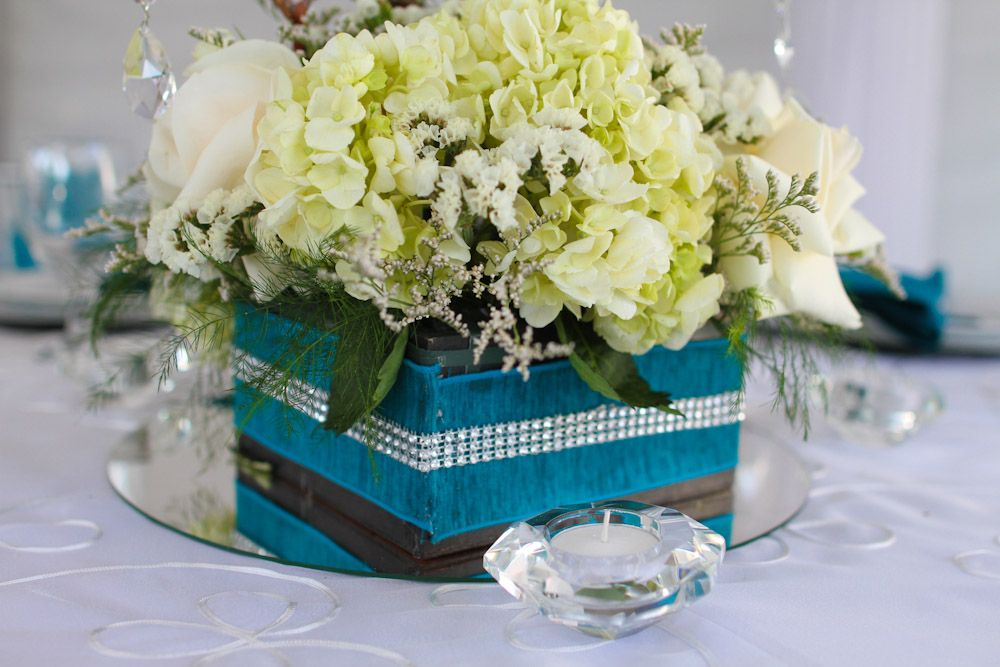 Turquoise Table Flowers 25th Wedding Anniversary Pinterest