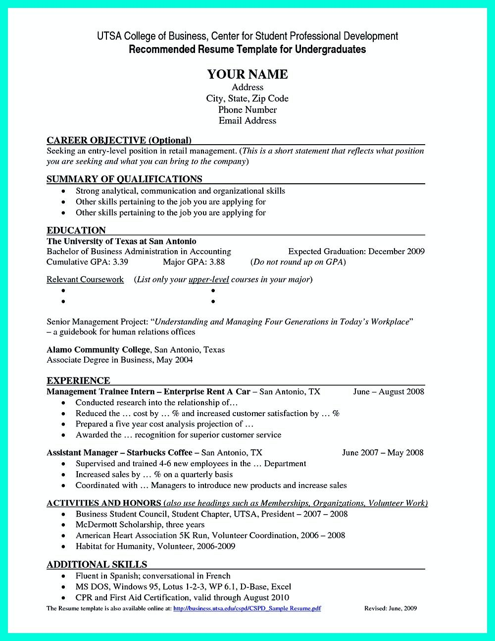resume for college job