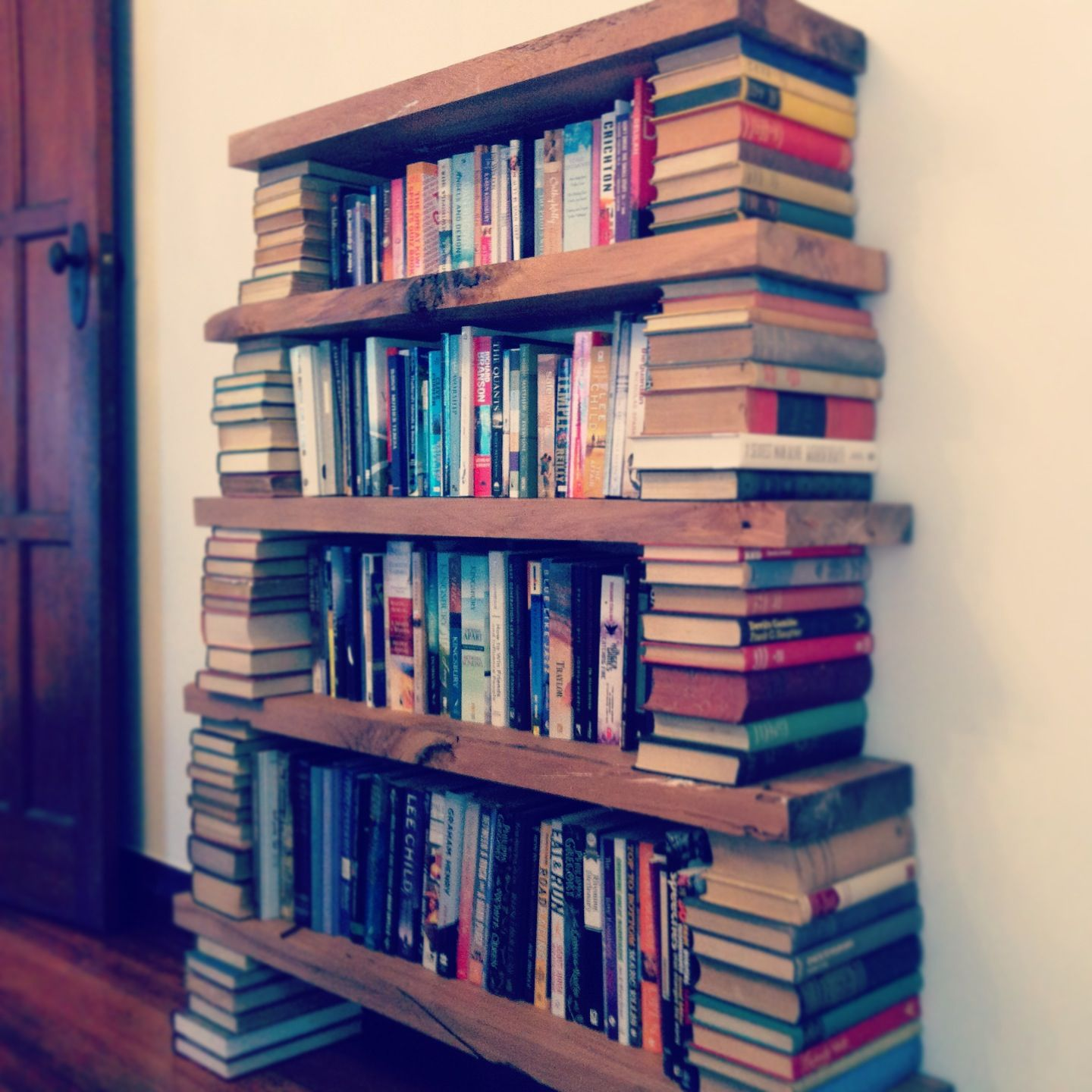 Superb img of Bookcase made out of old books and wood Miscellaneous Pinterest with #14104C color and 1440x1440 pixels