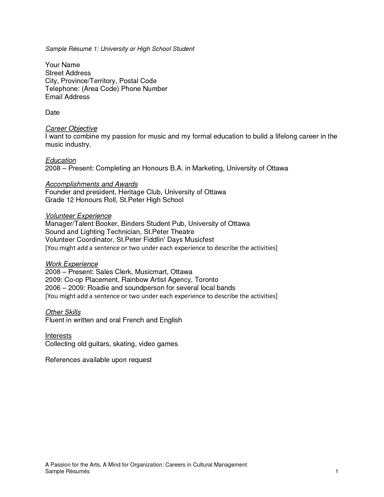 sample of a high school resume