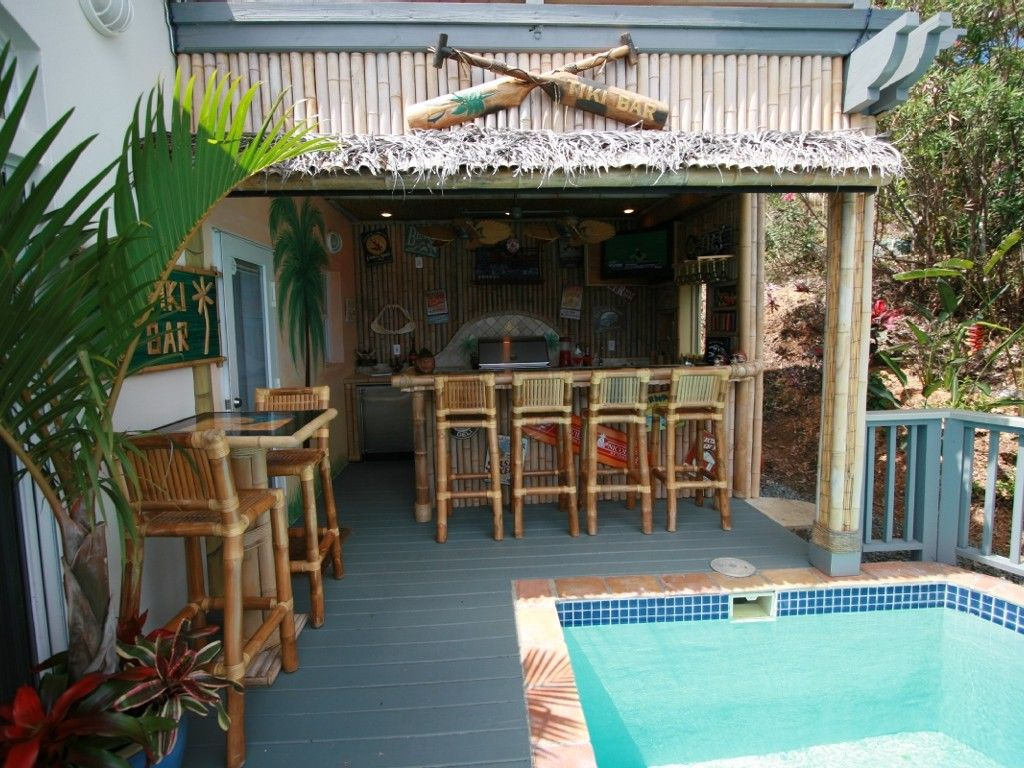 Backyard Tiki Bar Plans : Full #Tiki Bar and Outdoor Kitchen  backyard paradise  Pinterest