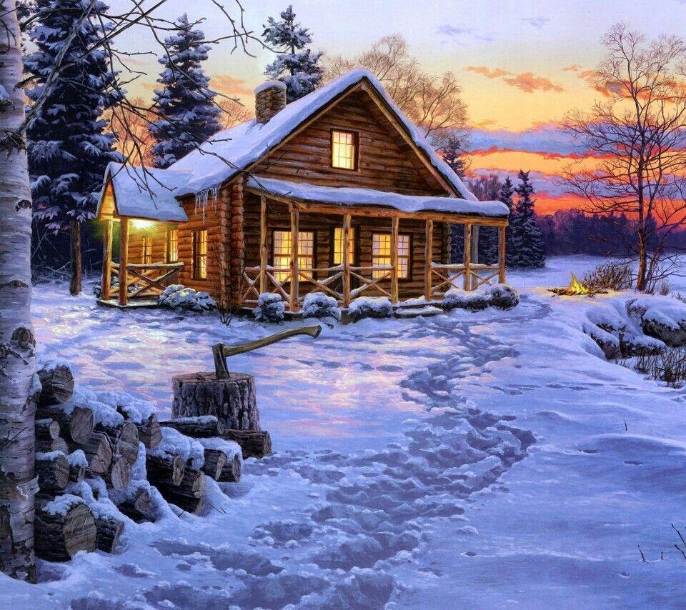 Mountain Cabin Christmas Winter Pinterest