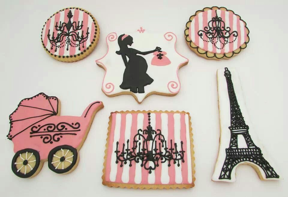 paris theme baby shower cookies baby girl shower pinterest