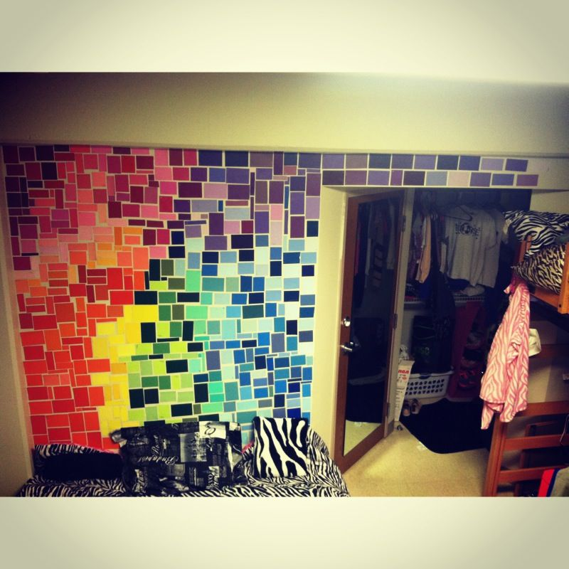 Paint chip collage for a dorm room wall dorm room ideas for Dorm room wall ideas