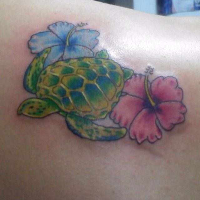 Sea turtle amp hibiscus tattooso cute tattoos and piercings