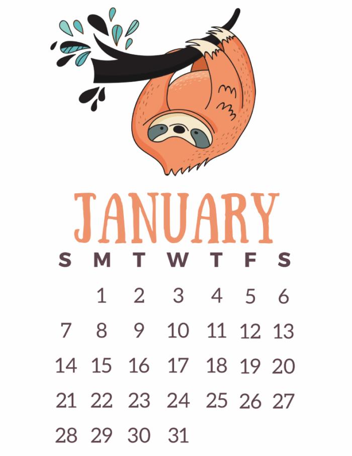 Free Printable 2018 Calendar: Lazy Sloths!   Free printable, Sloth ...