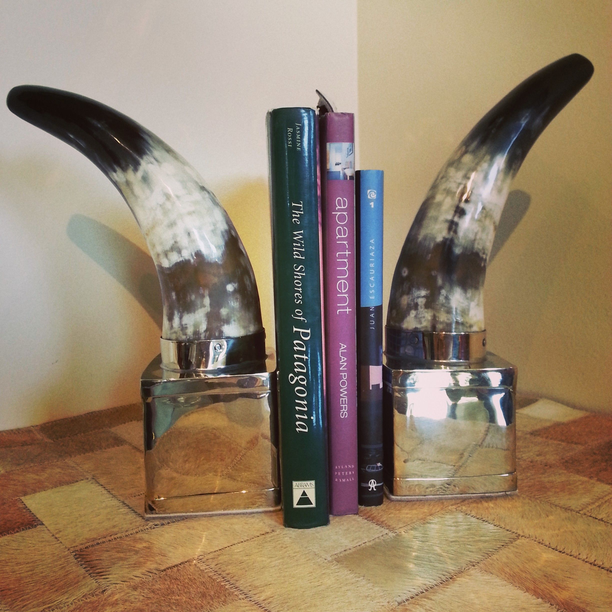 nickel and silver horn bookends