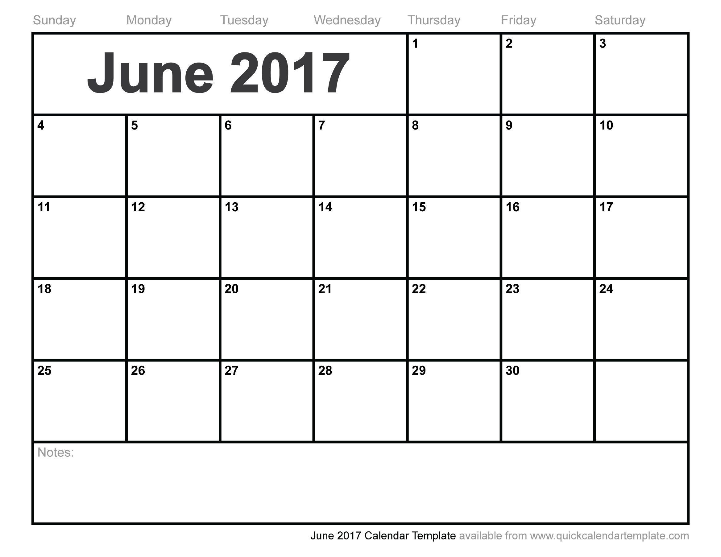 Blank Calendar Template 2017 June – Printable Editable Blank