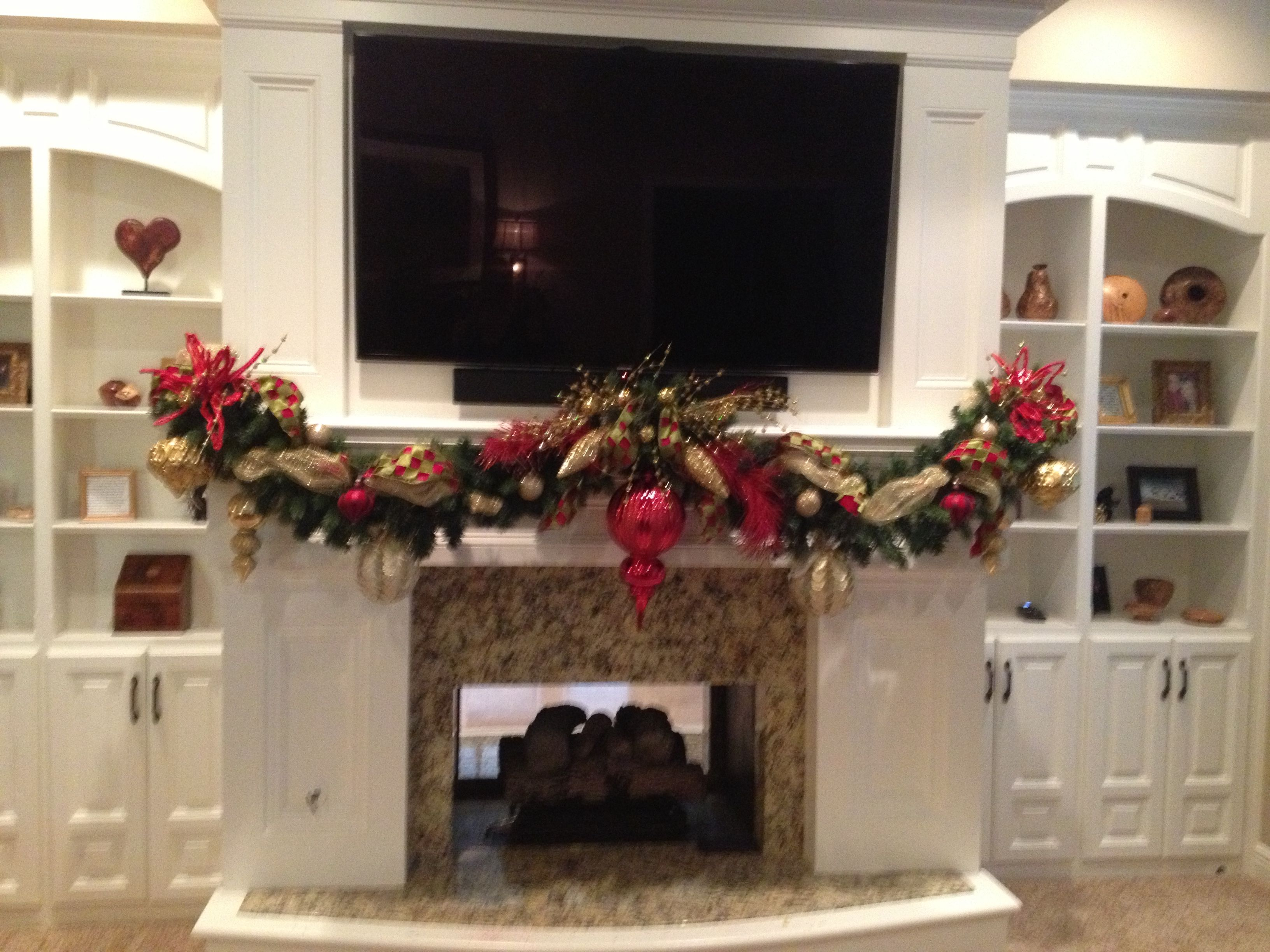 Christmas mantel garland crazy about christmas pinterest for Christmas mantel decorations garland