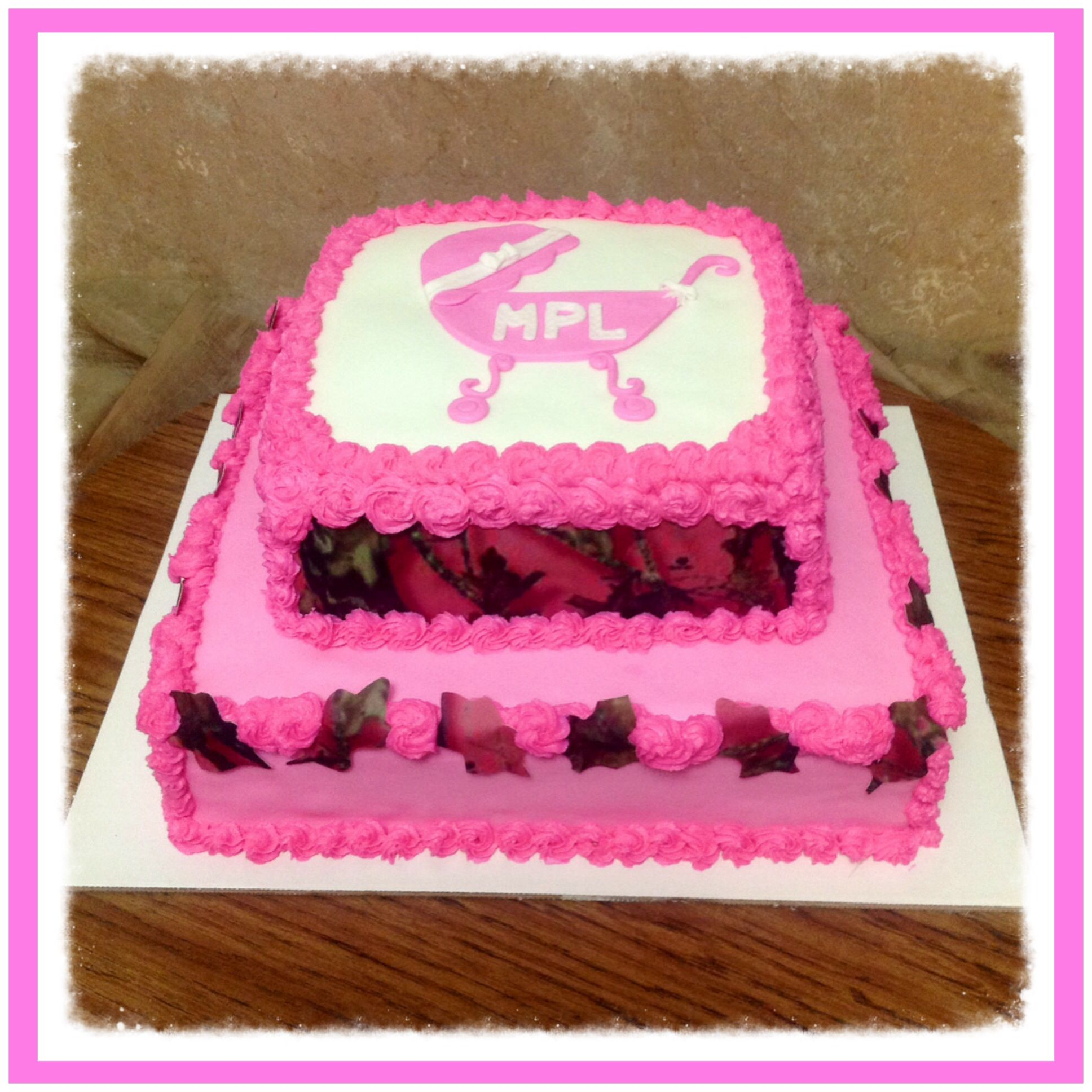 pink mossy oak camo baby shower cake cakes pinterest