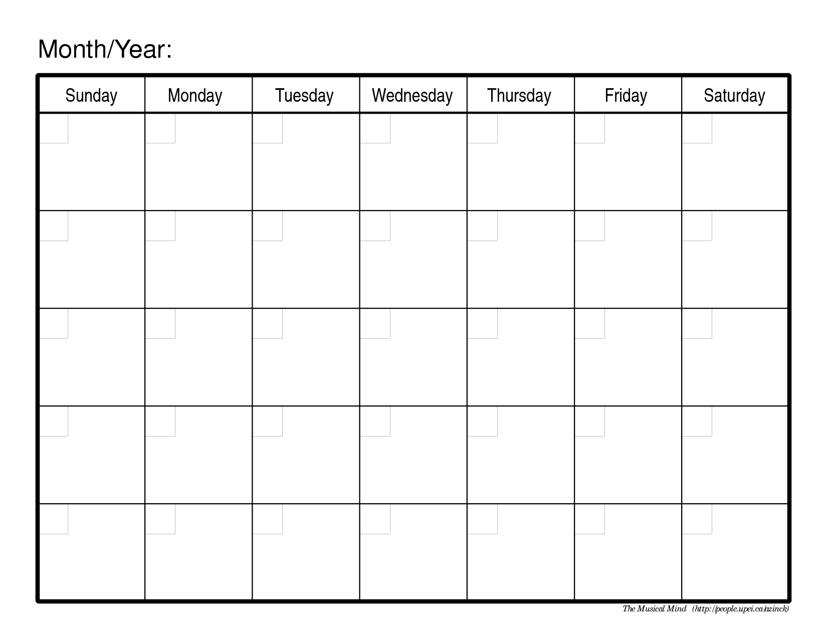 Blank Monthly Calendar Template For Kids – Printable Editable Blank