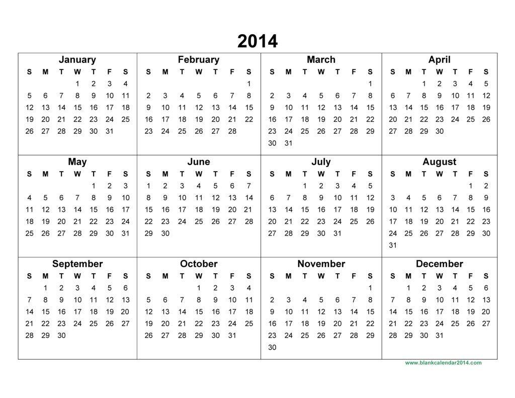 Full Page Blank Calendar 2014 – Printable Editable Blank