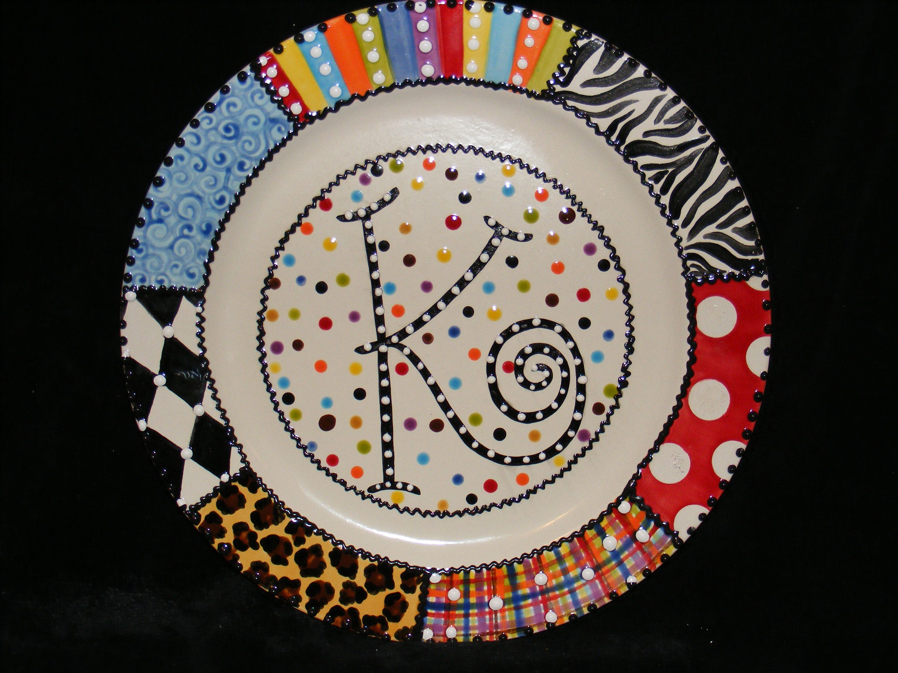 Monograms creative pottery painting ideas pinterest for Diy ceramic plates