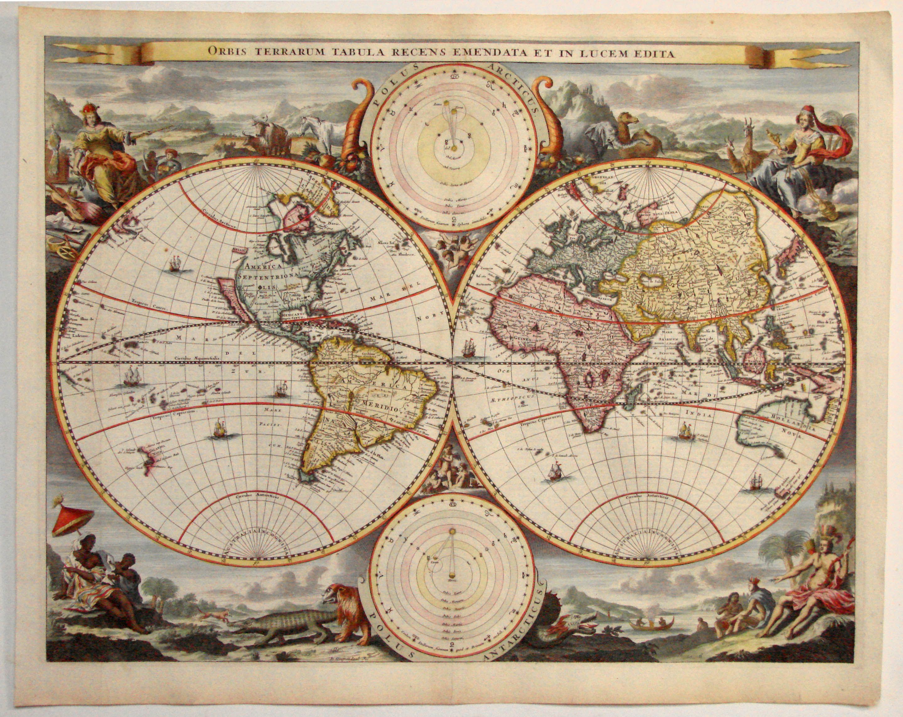 Spectavular Double Hemisphere Map Of The World By