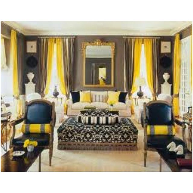 Yellow Black And Gray Living Room For The Home Pinterest