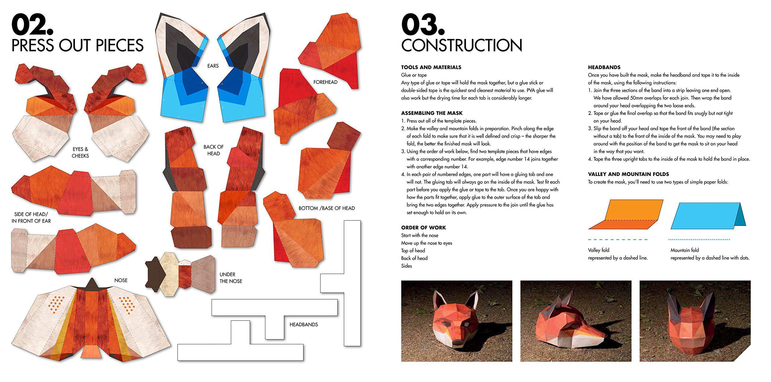 Паперкрафт схемы маска лисы