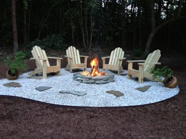 Fire pit area fire pits pinterest for Gravel fire pit area