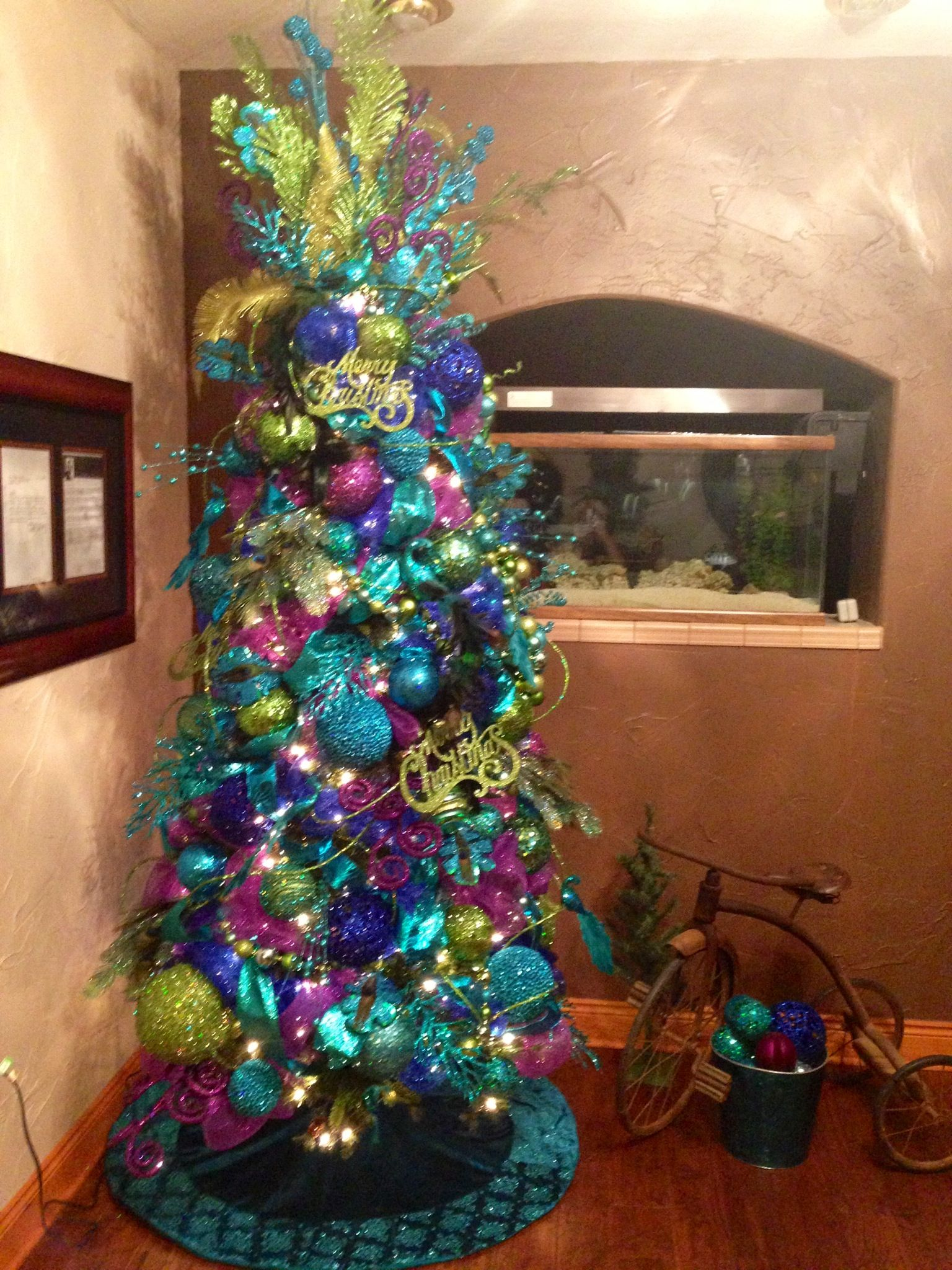 Peacock christmas tree santa baby pinterest for Christmas tree colour ideas