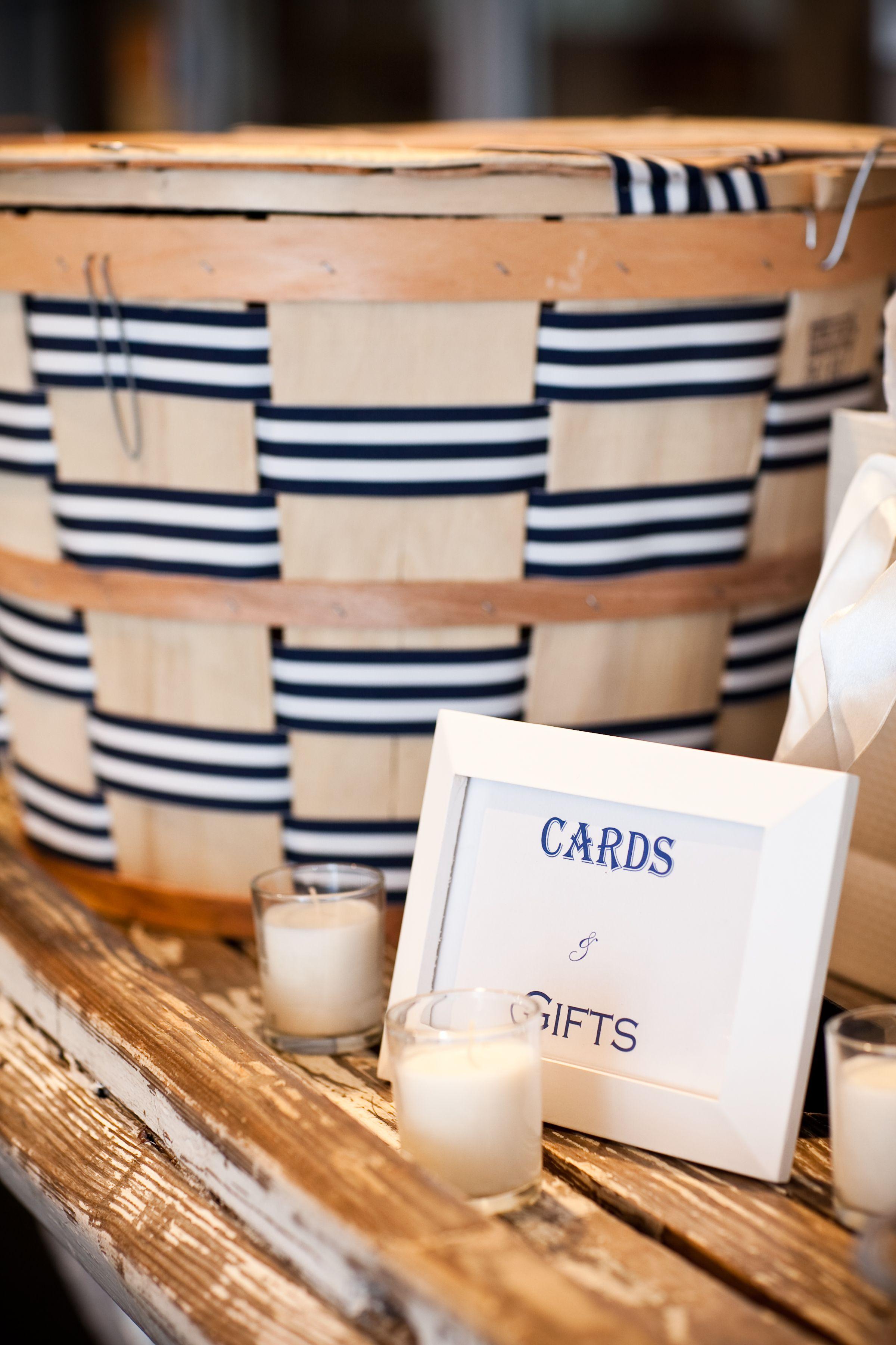 Bushel basket card holder Our Nautical Annapolis Wedding Pinterest