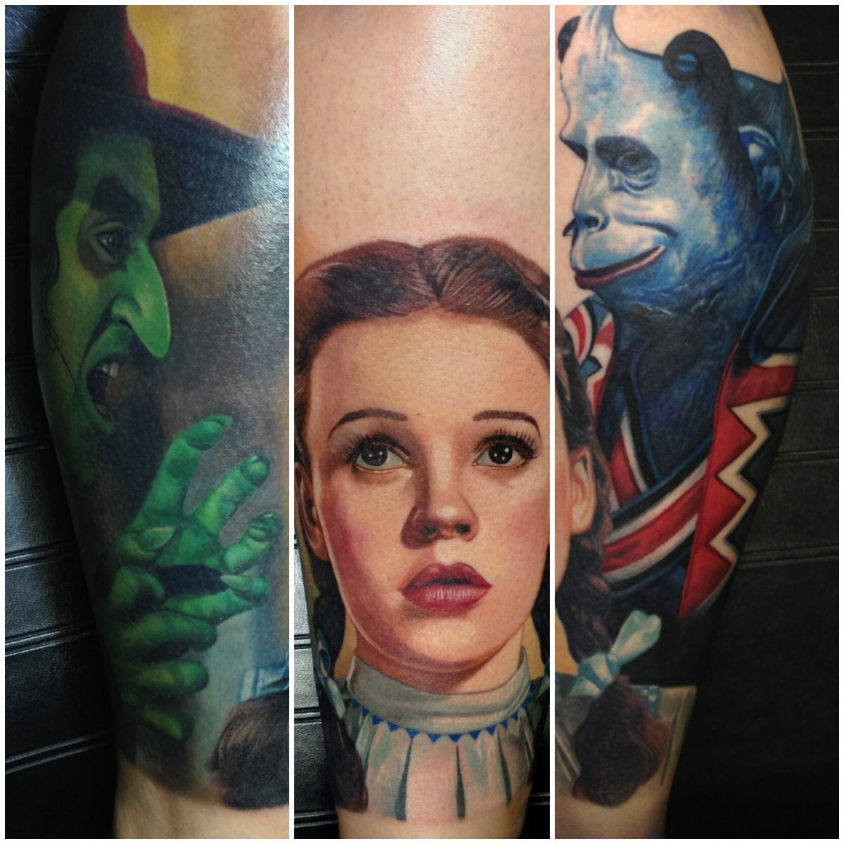 My wizard of oz leg sleeve so far by carlos rojas out of for Black anchor collective tattoo