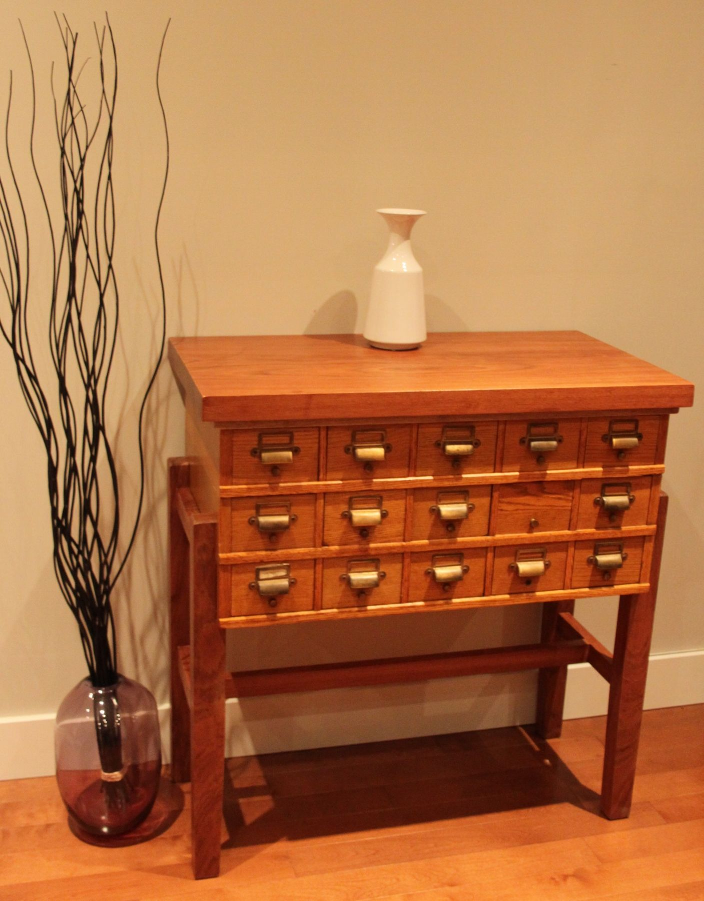 Old card catalogs as furniture