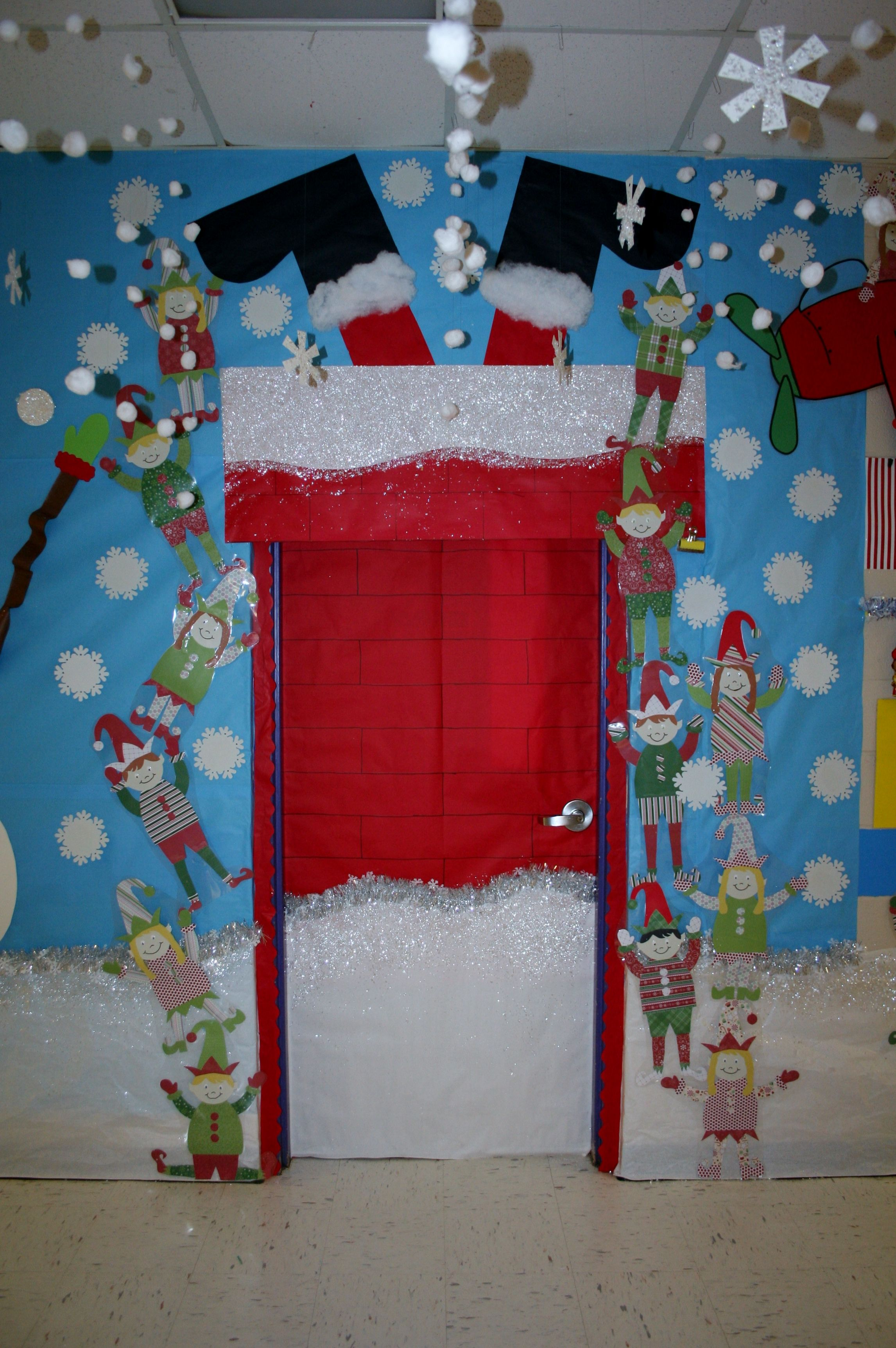 Santa stuck classroom door decoration classroom door for Door decorations for christmas