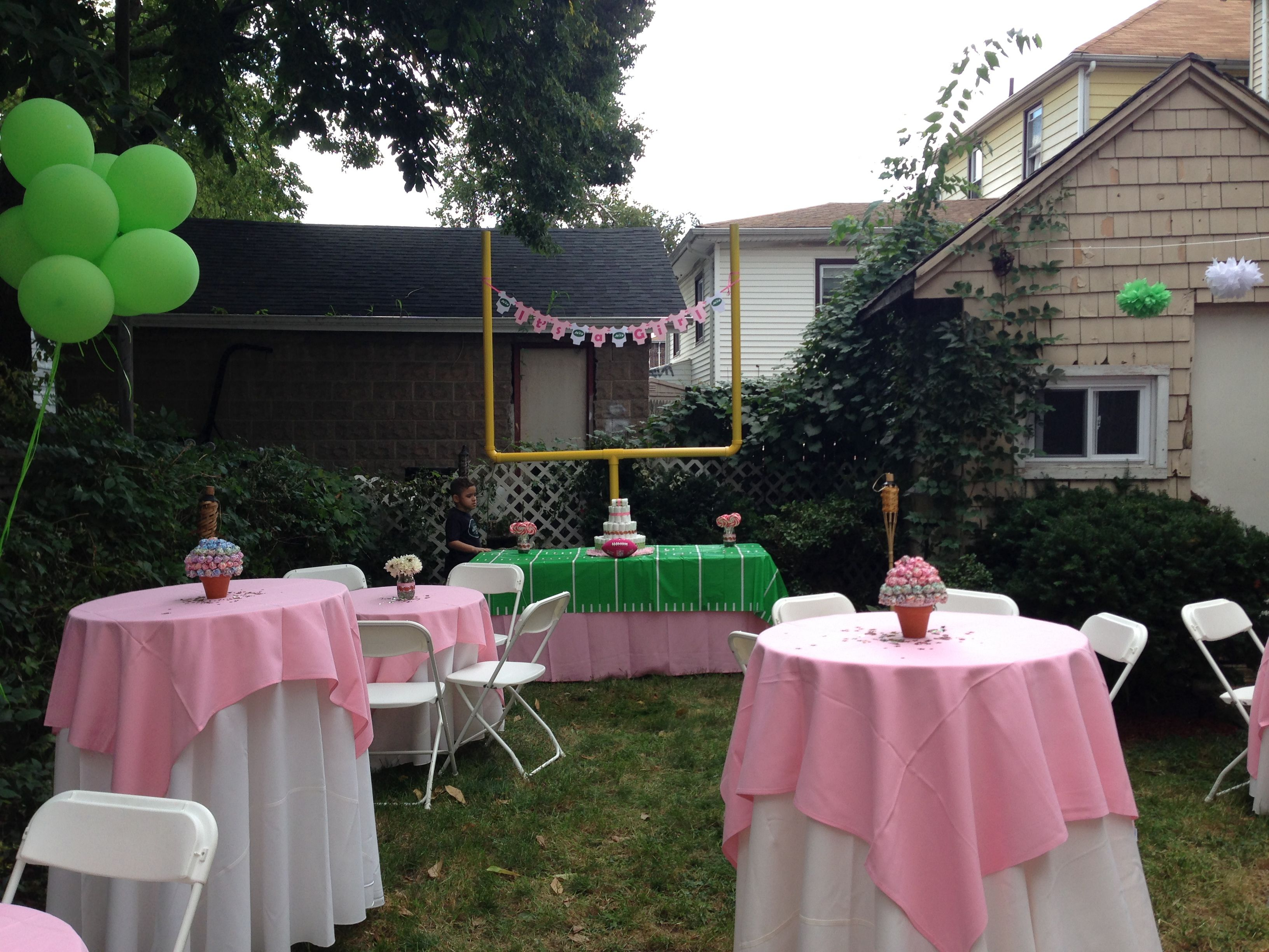 football themed baby shower for a girl baby shower pinterest