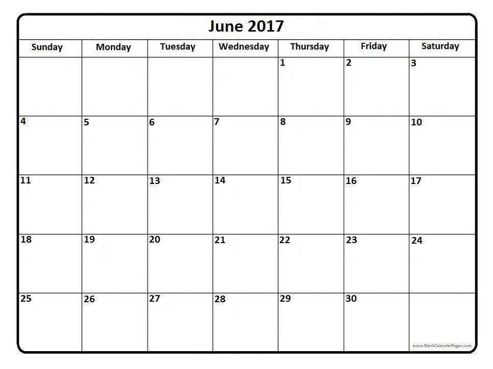 Blank Calendar June 2017 – Printable Editable Blank