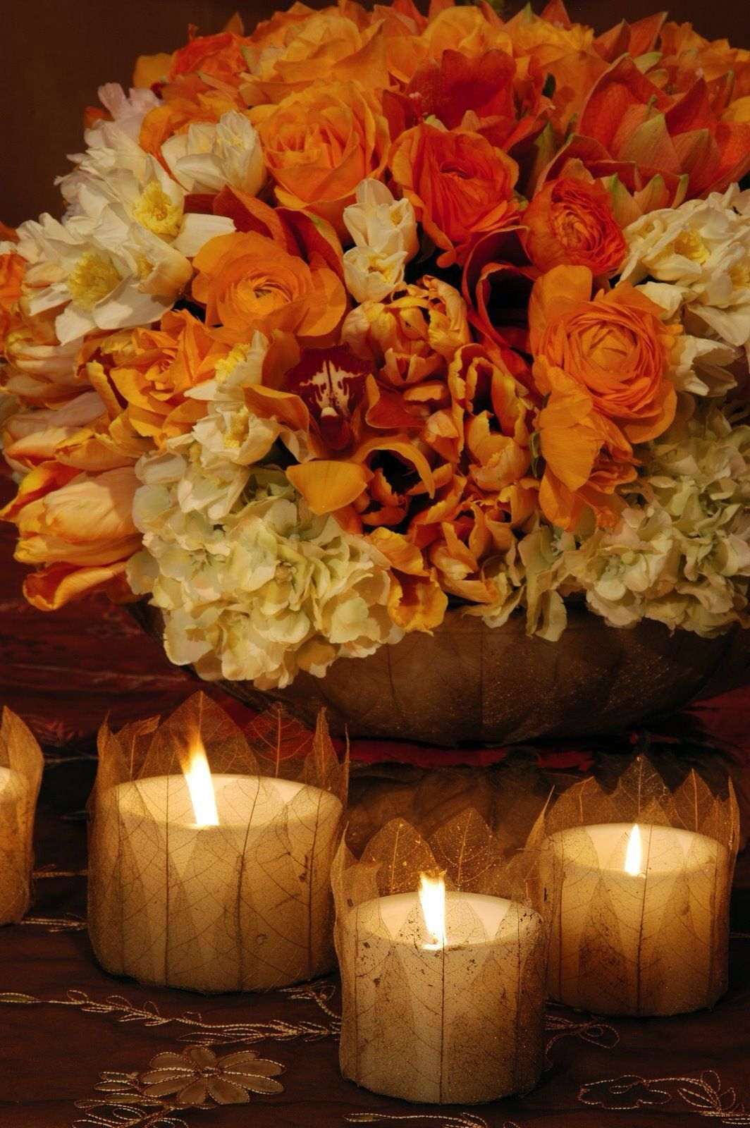 Hydrangeas roses with candles fall or autumn pinterest