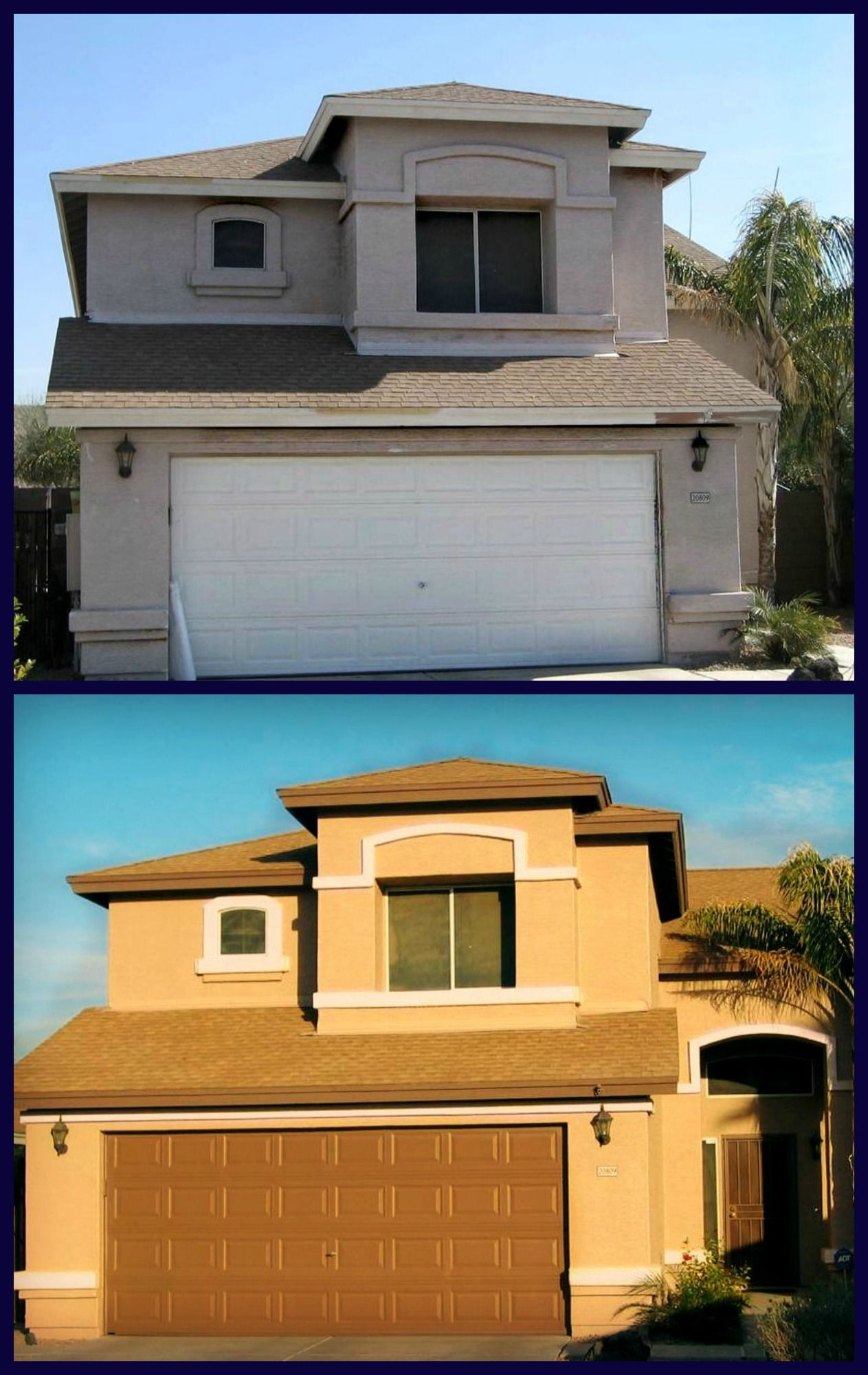 Before And After Stucco Exterior Paint Home Pinterest