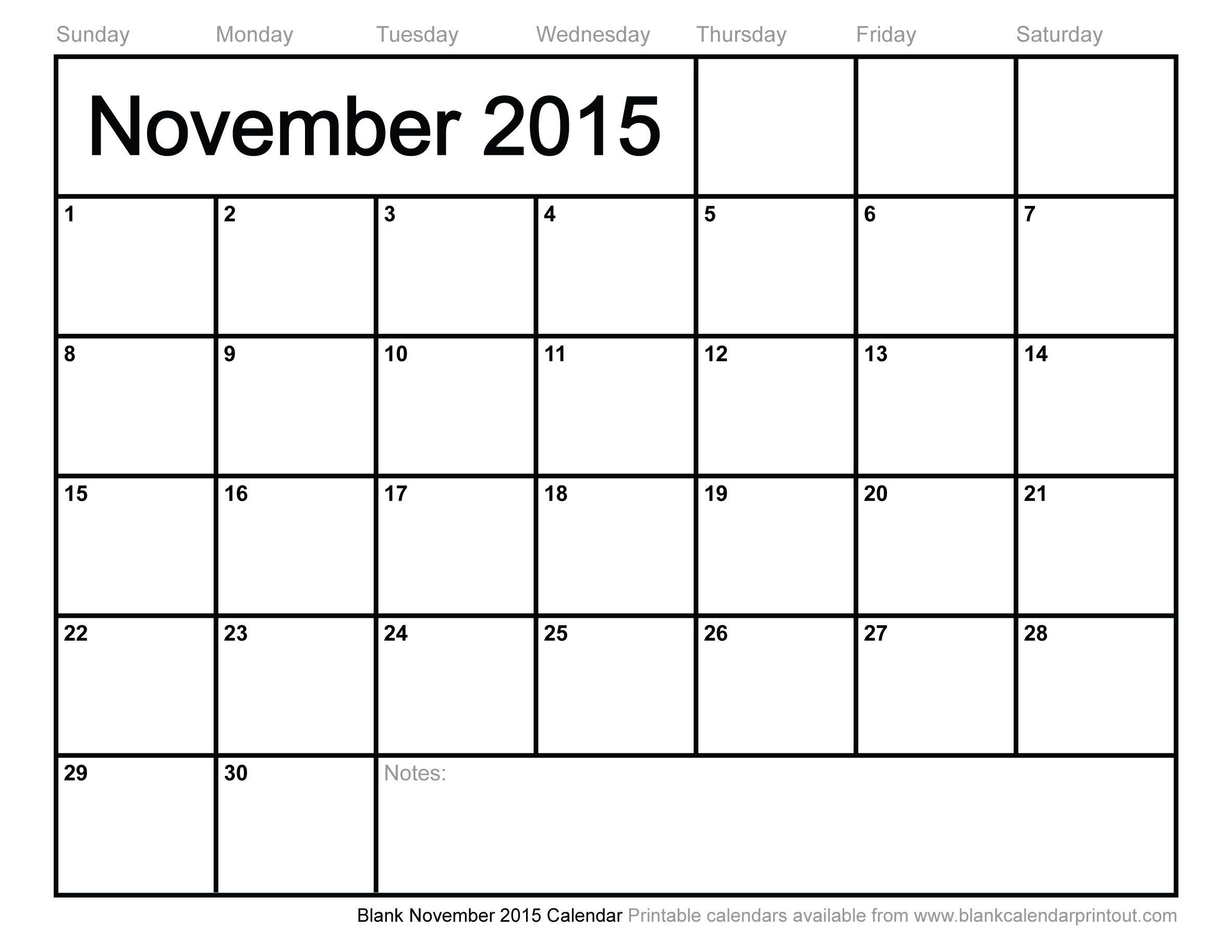 Blank Calendar Nov 2015 – Printable Editable Blank