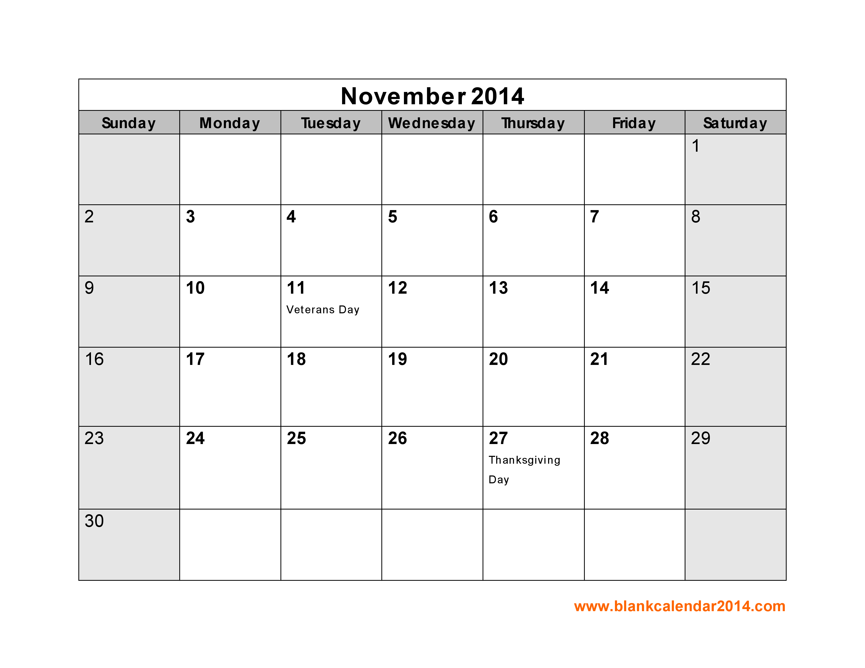 Blank Calendar Template November 2014 – Printable Editable Blank