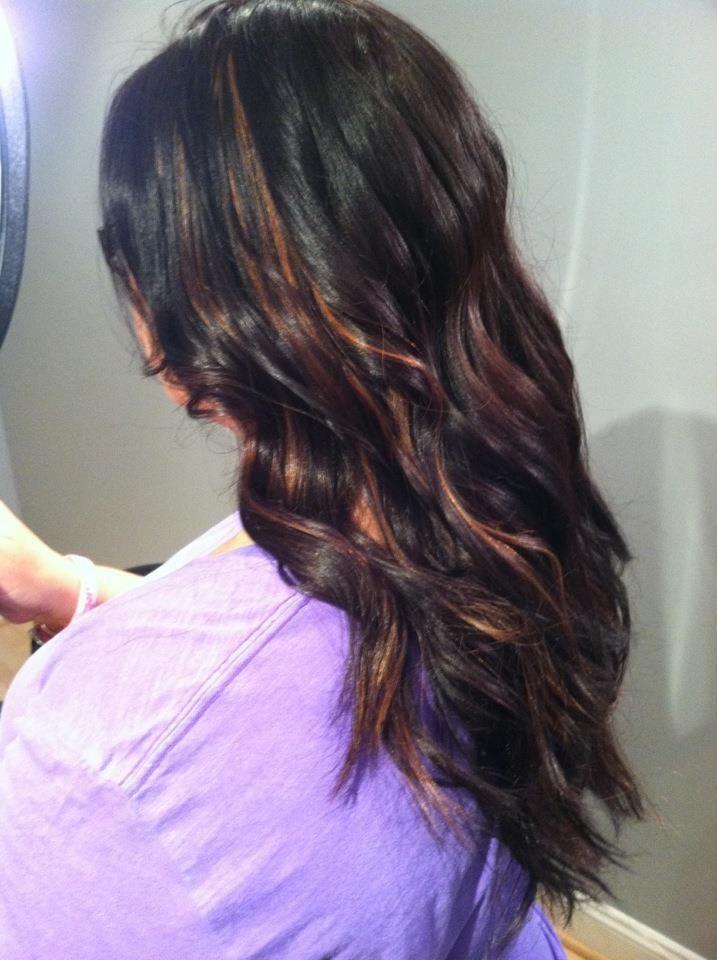 Dark burgundy with caramel highlights! | Brown Eyes & Black Hair (Hai ...
