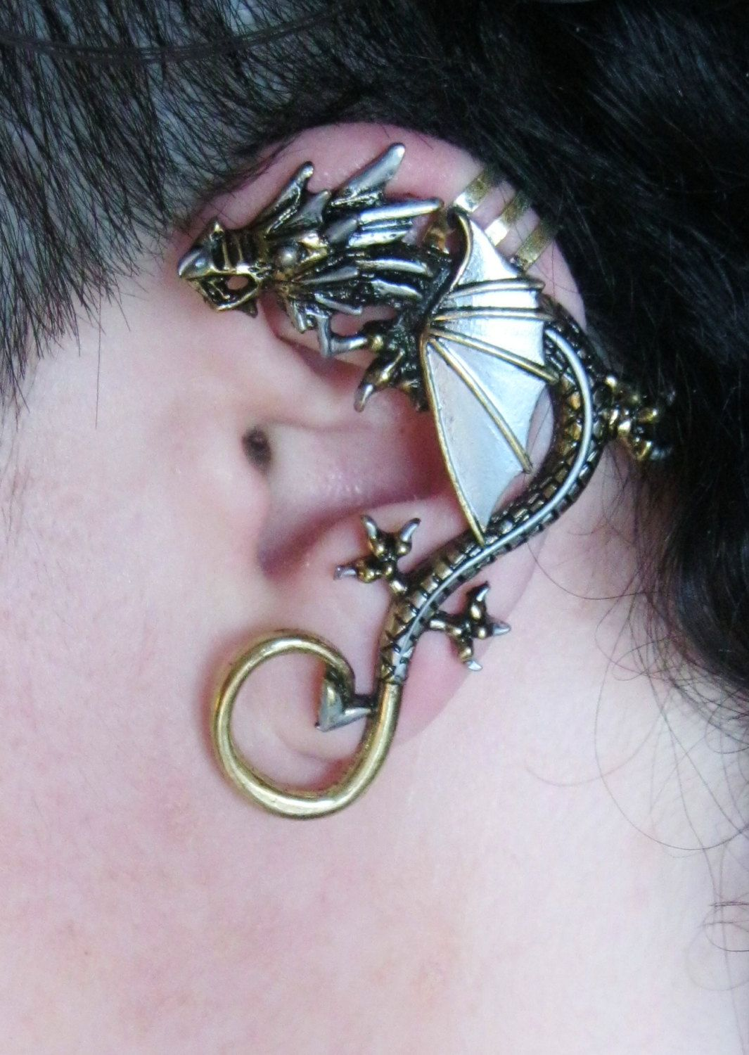 Metal dragon brass and silver ear cuff jewelry etc pinterest - Game of thrones dragon ear cuff ...