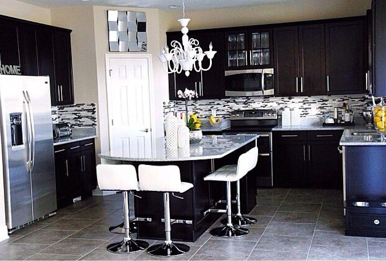 Dark cabinets light granite kitchen pinterest for Dark cabinets light granite