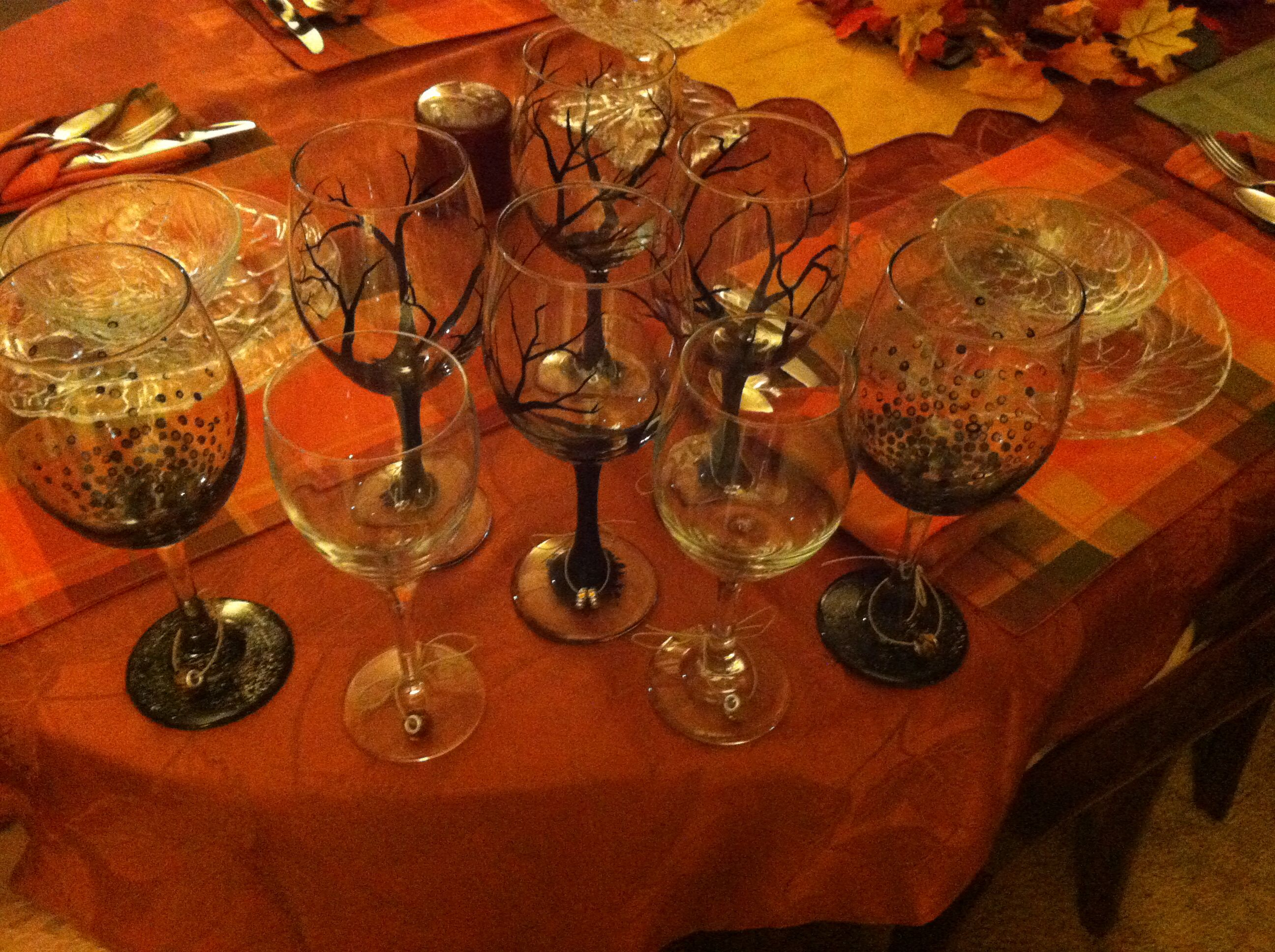 Thanksgiving wine glasses decorations
