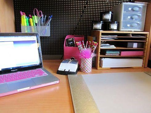 Desk storage organization office pinterest - School desk organization ideas ...
