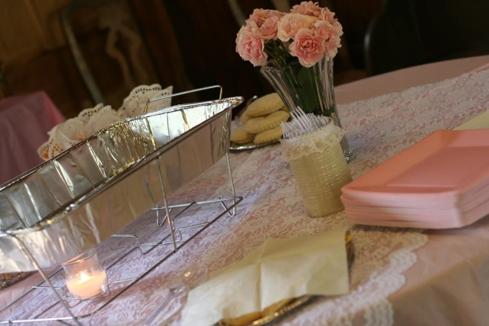 Shabby chic party decor - food table  Malky Bat Mitzvah  Pinterest