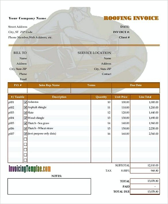 roof invoice template  Blank roof Invoice , How to Plan Roofing Invoice Templates , If you ...