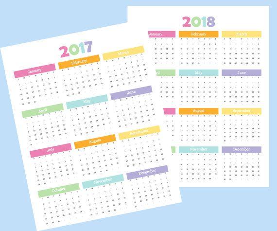 Year at a Glance, Annual Calendar, Year on One Page, 2017 calendar ...