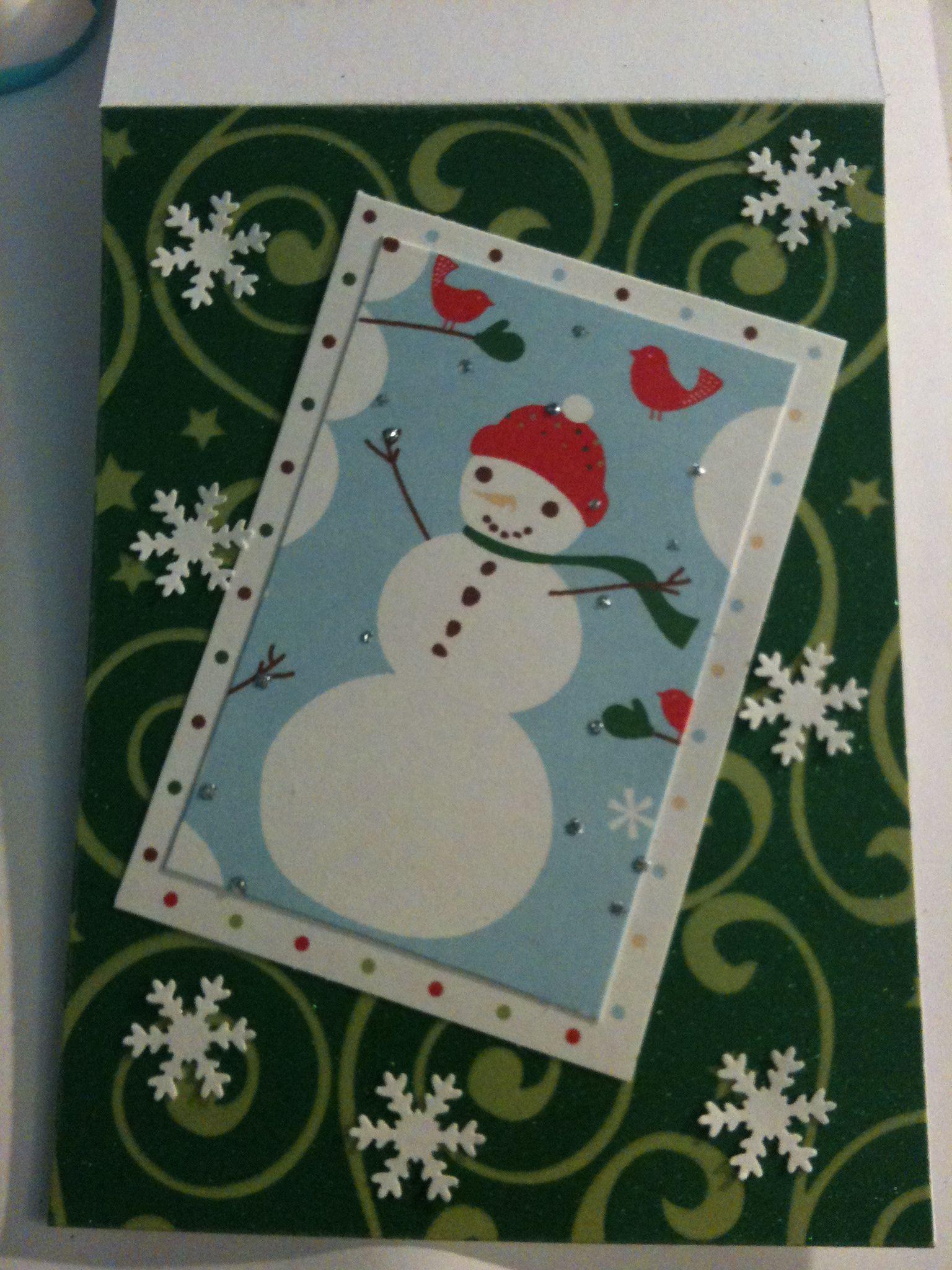 Handmade snowman christmas card my handmade cards for Handmade snowman christmas cards