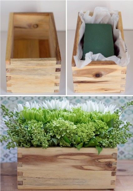 Wooden crate arrangements floral centerpieces pinterest for Application box decoration