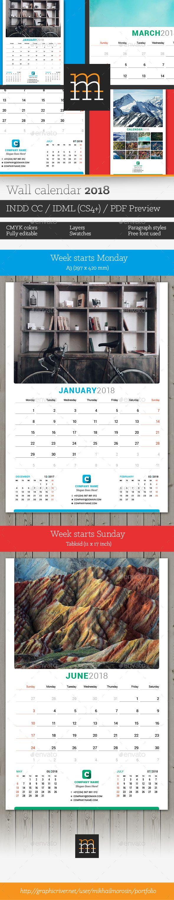 Wall Calendar 2018 | Calendar 2018, Template and Walls