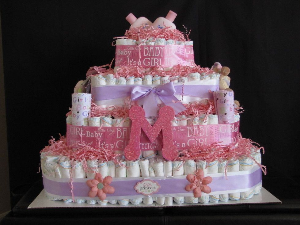 Unique Baby Gift Ideas Pinterest : Unique girl diaper cake diy baby shower gift ideas