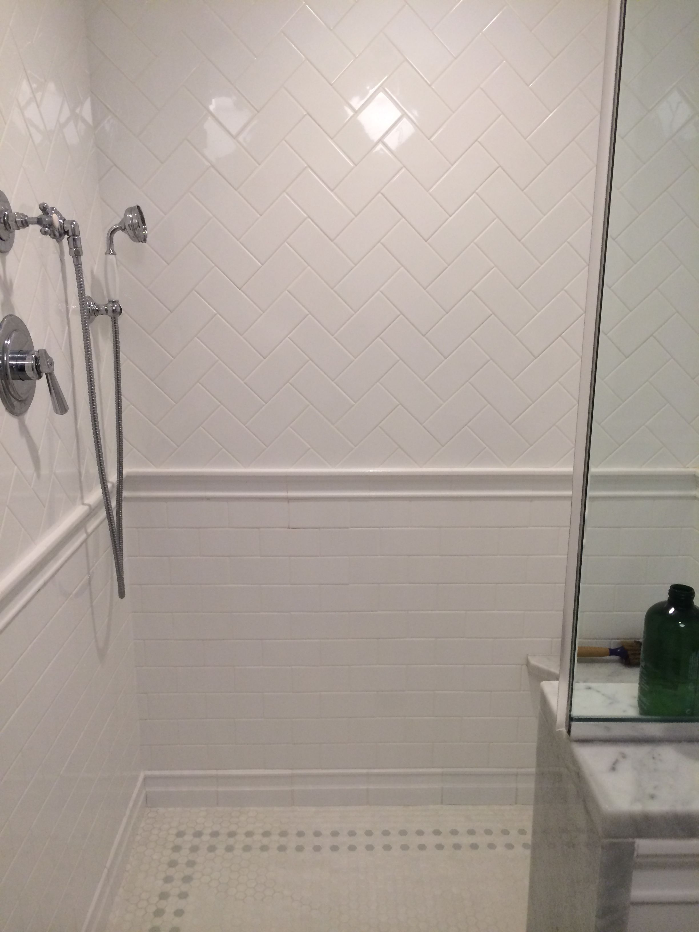 Herringbone subway tile bathrooms pinterest for Subway tiles for bathroom shower