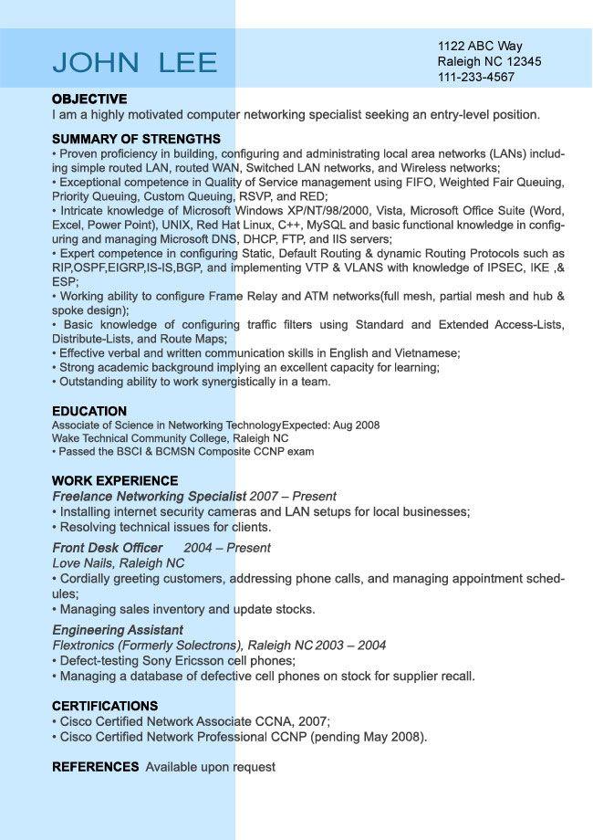 Sample resume for entry