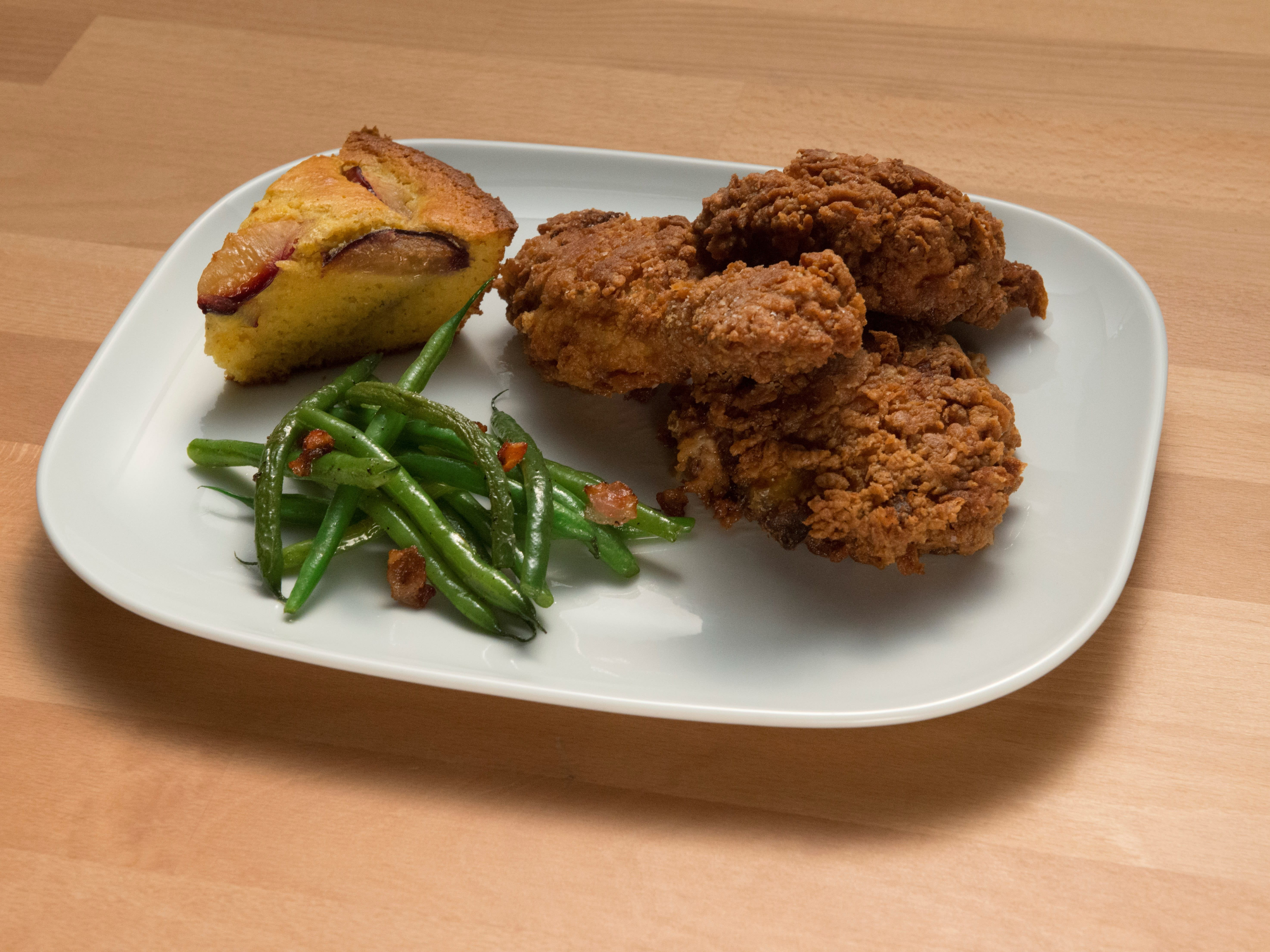 Fried Chicken with Plum Cornbread and Bacon Green Beans | Recipes ...