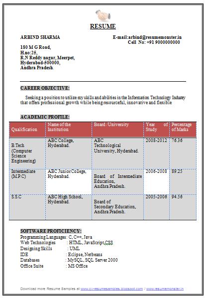 Resume for internship college student
