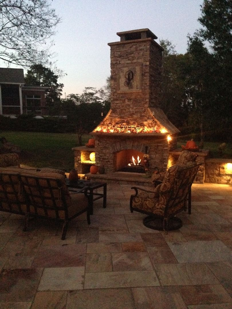 Custom Built Outdoor Fireplace Patios Outdoor Living Paths Pin