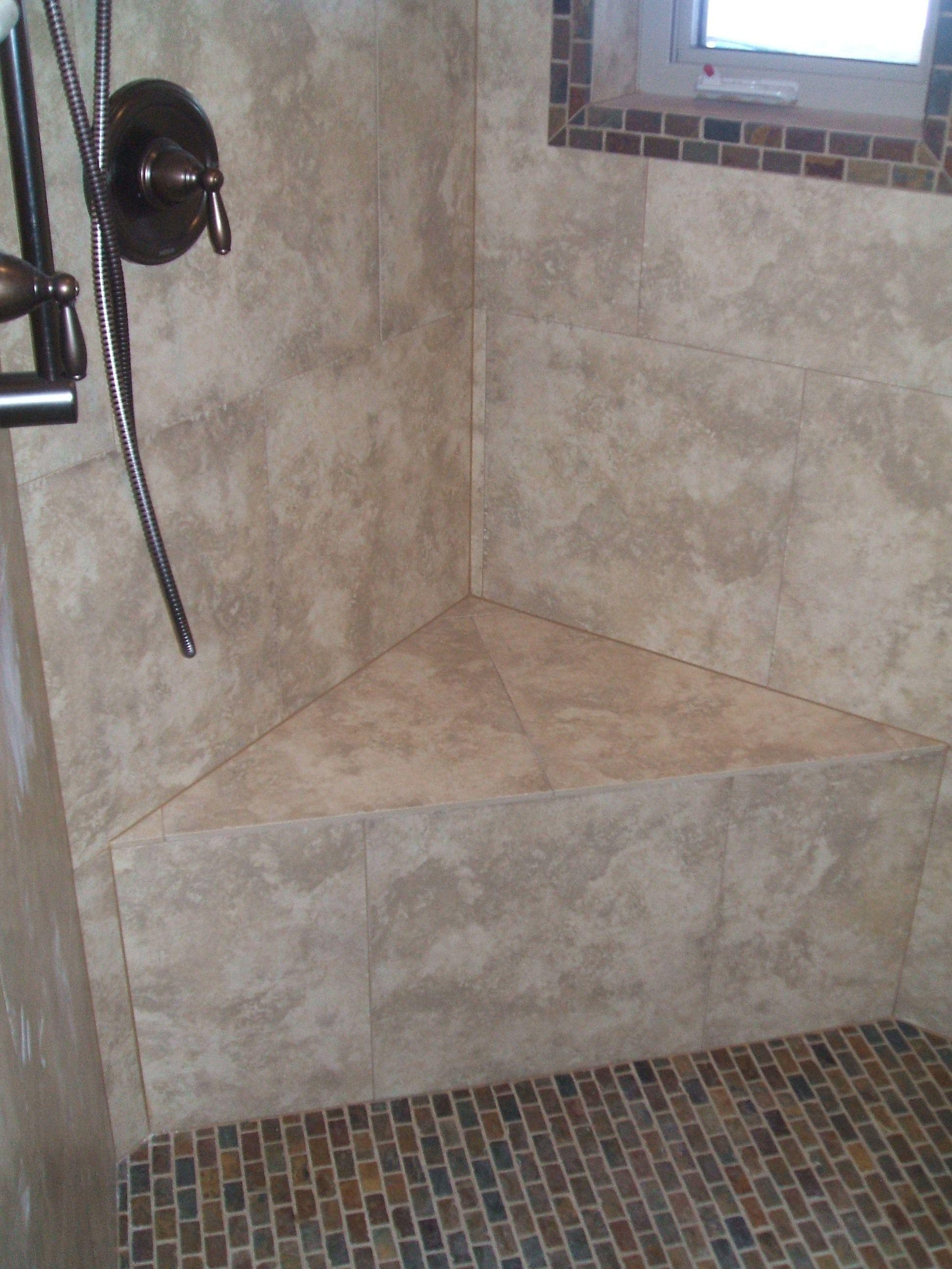 shower bench tile stone designs pinterest
